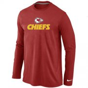 Wholesale Cheap Nike Kansas City Chiefs Authentic Logo Long Sleeve T-Shirt Red