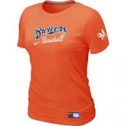 Wholesale Cheap Women's Milwaukee Brewers Nike Short Sleeve Practice MLB T-Shirt Orange
