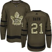 Wholesale Cheap Adidas Maple Leafs #21 Bobby Baun Green Salute to Service Stitched NHL Jersey