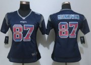Wholesale Cheap Nike Patriots #87 Rob Gronkowski Navy Blue Team Color Women's Stitched NFL Elite Strobe Jersey
