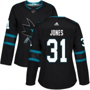Wholesale Cheap Adidas Sharks #31 Martin Jones Black Alternate Authentic Women's Stitched NHL Jersey