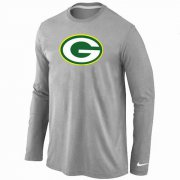 Wholesale Cheap Nike Green Bay Packers Logo Long Sleeve T-Shirt Grey