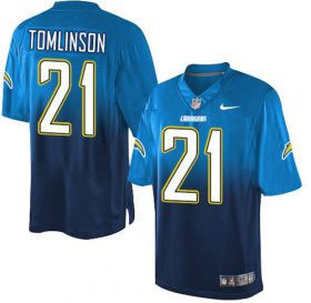 Wholesale Cheap Nike Chargers #21 LaDainian Tomlinson Electric Blue/Navy Blue Men\'s Stitched NFL Elite Fadeaway Fashion Jersey