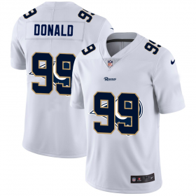 Wholesale Cheap Los Angeles Rams #99 Aaron Donald White Men\'s Nike Team Logo Dual Overlap Limited NFL Jersey