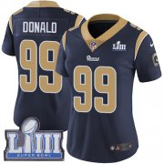 Wholesale Cheap Nike Rams #99 Aaron Donald Navy Blue Team Color Super Bowl LIII Bound Women's Stitched NFL Vapor Untouchable Limited Jersey