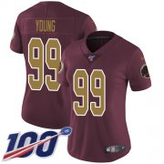 Wholesale Cheap Nike Redskins #99 Chase Young Burgundy Red Alternate Women's Stitched NFL 100th Season Vapor Untouchable Limited Jersey