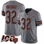 Wholesale Cheap Nike Bears #32 David Montgomery Silver Men's Stitched NFL Limited Inverted Legend 100th Season Jersey
