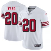 Wholesale Cheap Nike 49ers #20 Jimmie Ward White Rush Men's Stitched NFL Vapor Untouchable Limited Jersey