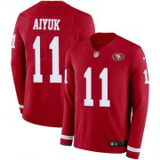 Wholesale Cheap Nike 49ers #11 Brandon Aiyuk Red Team Color Youth Stitched NFL Limited Therma Long Sleeve Jersey