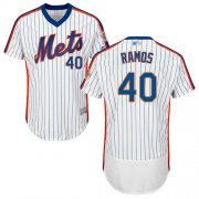 Wholesale Cheap Mets #40 Wilson Ramos White(Blue Strip) Flexbase Authentic Collection Alternate Stitched MLB Jersey