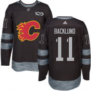 Wholesale Cheap Adidas Flames #11 Mikael Backlund Black 1917-2017 100th Anniversary Stitched NHL Jersey