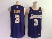 Wholesale Cheap Men's Los Angeles Lakers #3 Anthony Davis Purple 2021 Brand Jordan Swingman Stitched NBA Jersey With NEW Sponsor Logo