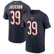 Wholesale Cheap Chicago Bears #39 Eddie Jackson Nike Team Player Name & Number T-Shirt Navy