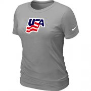 Wholesale Cheap Women's Nike USA Graphic Legend Performance Collection Locker Room T-Shirt Light Grey