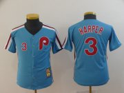 Wholesale Cheap Phillies #3 Bryce Harper Light Blue Cool Base Cooperstown Stitched Youth MLB Jersey
