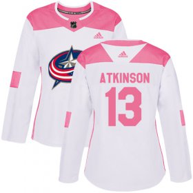 Wholesale Cheap Adidas Blue Jackets #13 Cam Atkinson White/Pink Authentic Fashion Women\'s Stitched NHL Jersey