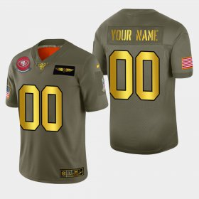 Wholesale Cheap Nike 49ers Custom Men\'s Olive Gold 2019 Salute to Service NFL 100 Limited Jersey