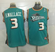 Wholesale Cheap Men's Detroit Pistons #3 Ben Wallace Teal Green Hardwood Classics Soul Swingman Throwback Jersey