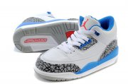 Wholesale Cheap Air Jordan 3 Kids(True Blue 2016 release) Shoes White/gray cement-blue