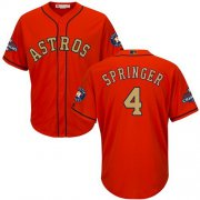 Wholesale Cheap Astros #4 George Springer Orange 2018 Gold Program Cool Base Stitched Youth MLB Jersey
