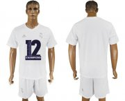 Wholesale Cheap Real Madrid Blank Champions White Soccer Club Jersey