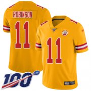 Wholesale Cheap Nike Chiefs #11 Demarcus Robinson Gold Youth Stitched NFL Limited Inverted Legend 100th Season Jersey