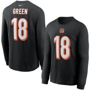 Wholesale Cheap Cincinnati Bengals #18 A.J. Green Nike Player Name & Number Long Sleeve T-Shirt Black