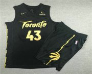 Wholesale Cheap Men's Toronto Raptors #43 Pascal Siakam Black 2020 Nike City Edition Swingman Jersey With Shorts