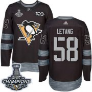 Wholesale Cheap Adidas Penguins #58 Kris Letang Black 1917-2017 100th Anniversary Stanley Cup Finals Champions Stitched NHL Jersey