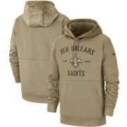 Wholesale Cheap Men's New Orleans Saints Nike Tan 2019 Salute to Service Sideline Therma Pullover Hoodie