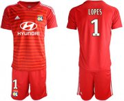 Wholesale Cheap Lyon #1 Lopes Red Goalkeeper Soccer Club Jersey