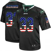 Wholesale Cheap Nike Jets #33 Jamal Adams Black Men's Stitched NFL Elite USA Flag Fashion Jersey
