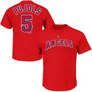 Wholesale Cheap Los Angeles Angels #5 Albert Pujols Majestic Official Name & Number T-Shirt Scarlet