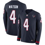 Wholesale Cheap Nike Texans #4 Deshaun Watson Navy Blue Team Color Youth Stitched NFL Limited Therma Long Sleeve Jersey
