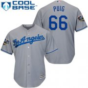 Wholesale Cheap Dodgers #66 Yasiel Puig Grey Cool Base 2018 World Series Stitched Youth MLB Jersey