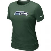 Wholesale Cheap Women's Nike Seattle Seahawks Logo NFL T-Shirt Dark Green