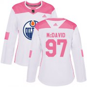 Wholesale Cheap Adidas Oilers #97 Connor McDavid White/Pink Authentic Fashion Women's Stitched NHL Jersey