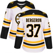 Wholesale Cheap Adidas Bruins #37 Patrice Bergeron White Road Authentic Women's Stitched NHL Jersey