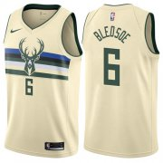 Wholesale Cheap Nike Bucks #6 Eric Bledsoe Cream NBA Swingman City Edition Jersey