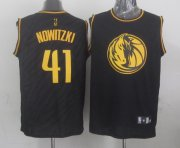 Wholesale Cheap Dallas Mavericks #41 Dirk Nowitzki Revolution 30 Swingman 2014 Black With Gold Jersey