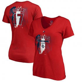 Wholesale Cheap Los Angeles Angels #17 Shohei Ohtani Majestic Women\'s 2019 Spring Training Name & Number V-Neck T-Shirt Red