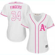 Wholesale Cheap Athletics #34 Rollie Fingers White/Pink Fashion Women's Stitched MLB Jersey