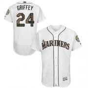 Wholesale Cheap Mariners #24 Ken Griffey White Flexbase Authentic Collection Memorial Day Stitched MLB Jersey