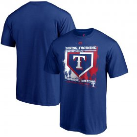 Wholesale Cheap Texas Rangers Majestic 2019 Spring Training Cactus League Base on Ball Big & Tall T-Shirt Blue