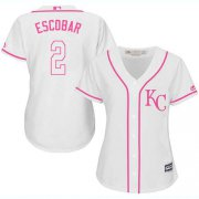 Wholesale Cheap Royals #2 Alcides Escobar White/Pink Fashion Women's Stitched MLB Jersey