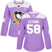 Wholesale Cheap Adidas Penguins #58 Kris Letang Purple Authentic Fights Cancer Women's Stitched NHL Jersey