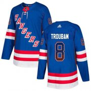 Wholesale Cheap Adidas Rangers #8 Jacob Trouba Royal Blue Home Authentic Drift Fashion Stitched NHL Jersey