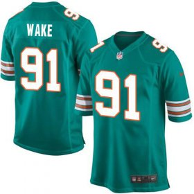 Wholesale Cheap Nike Dolphins #91 Cameron Wake Aqua Green Alternate Youth Stitched NFL Elite Jersey