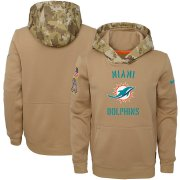 Wholesale Cheap Youth Miami Dolphins Nike Khaki 2019 Salute to Service Therma Pullover Hoodie
