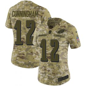 Wholesale Cheap Nike Eagles #12 Randall Cunningham Camo Women\'s Stitched NFL Limited 2018 Salute to Service Jersey